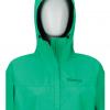 Marmot Minimalist Jacket Women's, Turf Green, Front View Hood Up
